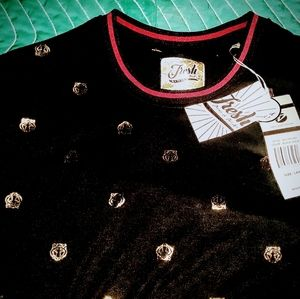FRESH brand L black shirt with gold colored decor
